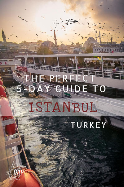 This image shows a ferry in Istanbul during sunset. In the background, there are seagulls flying over a mosque. It is an optimised image for Pinterest. There is overlay text that reads: The perfect 5-day guide to Istanbul Turkey. If you like our article, please pin this image.