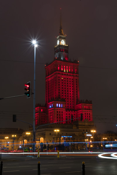 The Palace of Culture and Science at night. Winter in Warsaw. Top things to do and Warsaw city guide.
