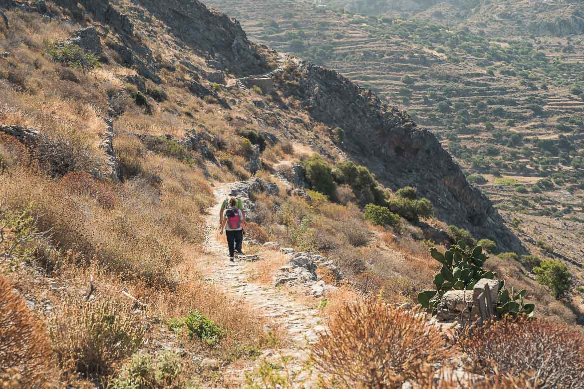 This image shows a hiking trail in Amorgos.