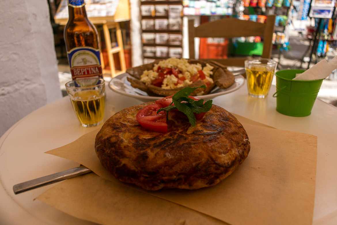 This is froutalia, the traditional dish of Andros. Also, dakos salad with local cheese.