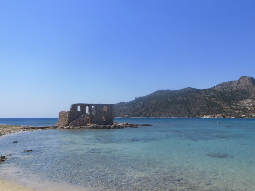 Plytra beach, day trip from the Castle of Monemvasia. Summer in Greece. Monemvasia Castle Travel Guide.