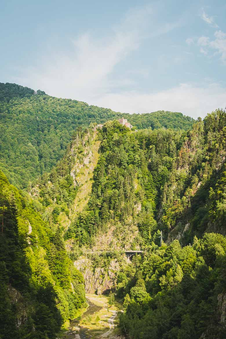 This photo shows Poenari Castle from a distance. This used to be the actual castle where Vlad Dracula resided. Sadly, on a trip from Brasov to Bran Castle, you can't see Dracula's real castle.