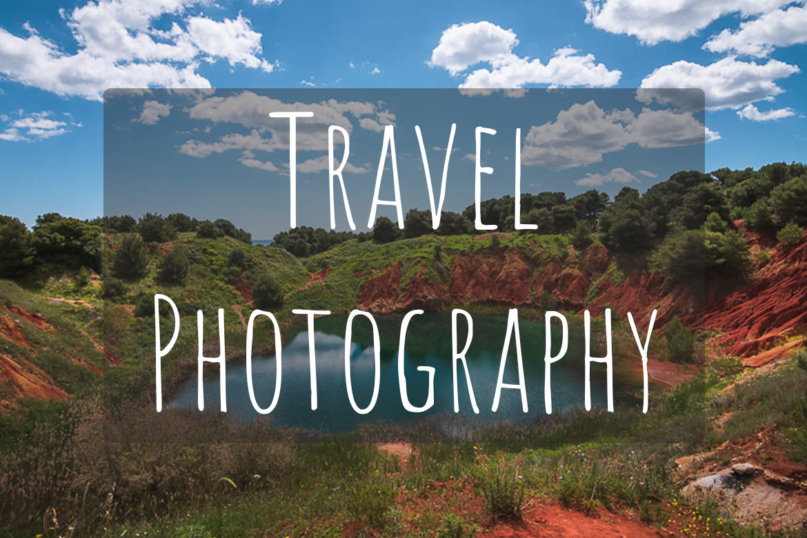 This image shows a green lake surrounded by red rocks. There's overlay text that reads Travel Photography.