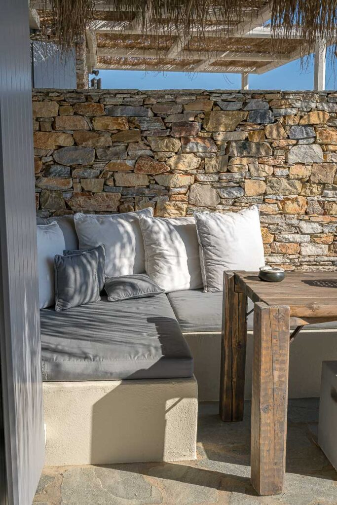 This image shows a room's terrace at Verina Hotel in Sifnos.