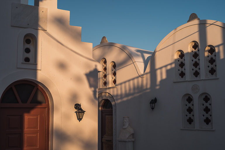 This image shows two churches in Paros Greece.