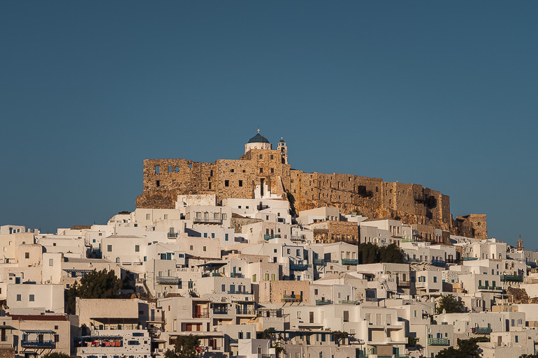 This image shows the Chora of Astypalaia Greece.