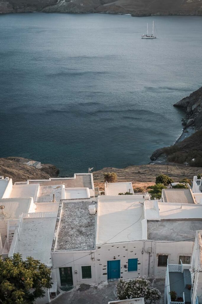 This image shows the view of Chora from the Castle in Astypalaia.
