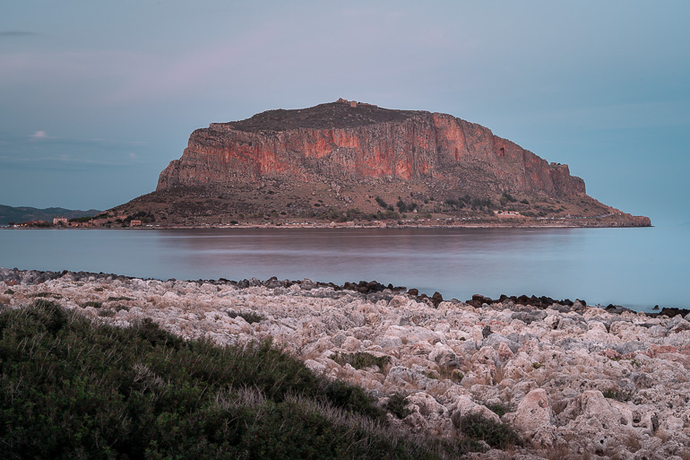 This image shows a panoramic view of Monemvasia's rock.