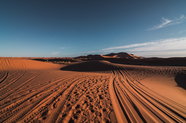 This image shows the Sahara desert in Morocco.