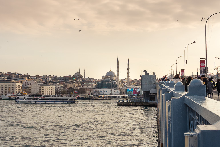 This image shows a panoramic view of Istanbul from Galata Bridge.