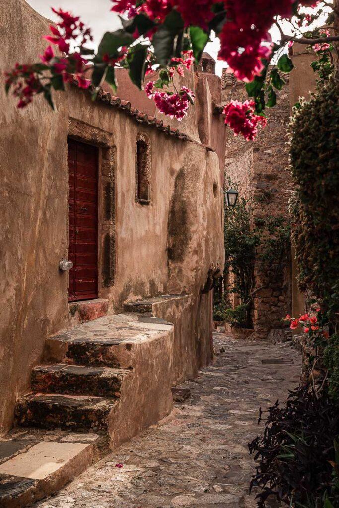 This image shows an alley in Monemvasia Greece.