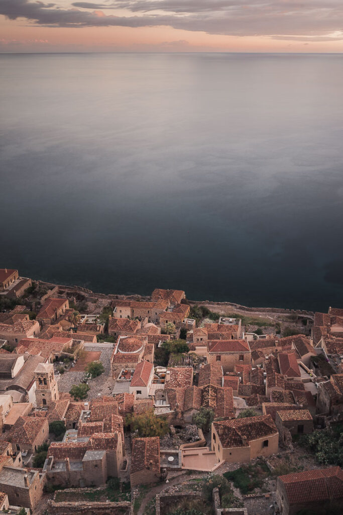 This image shows a panoramic view of Monemvasia.