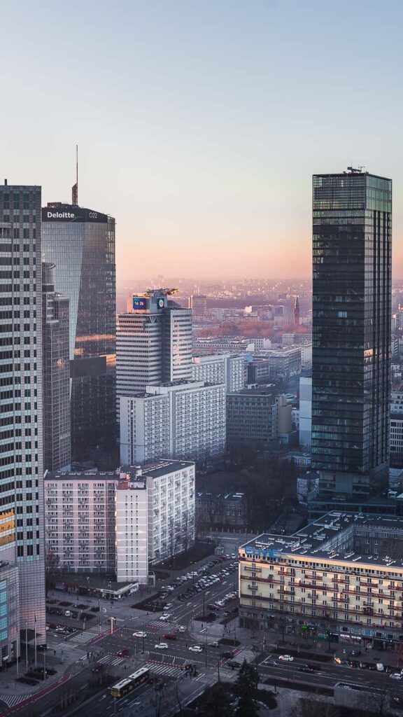 This image shows the skyline view from the Palace of Culture and Science in Warsaw.
