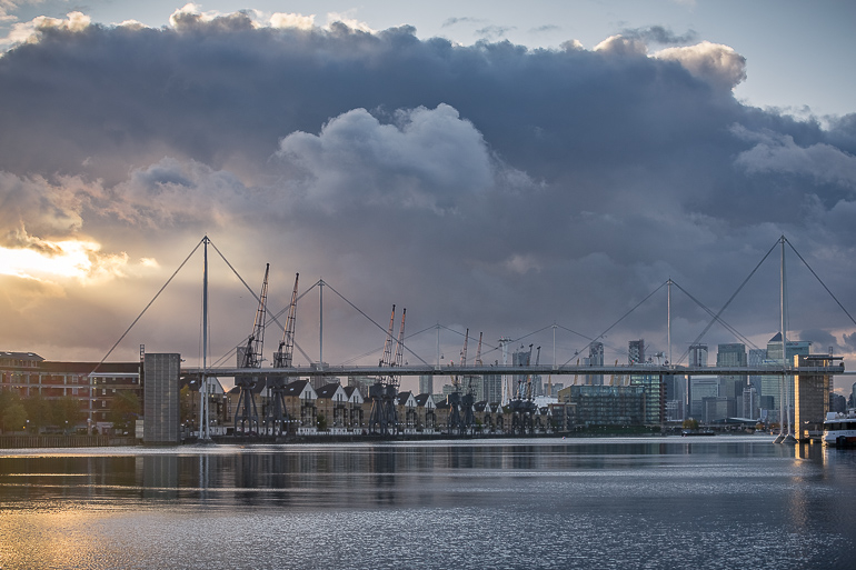This image shows the view of London skyline from the ExCel.