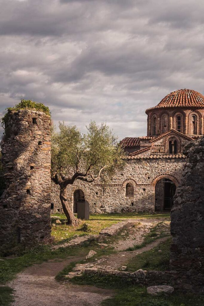 This image shows a church in Mystras.