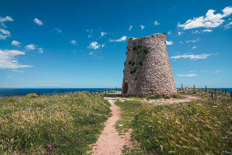 This image shows a watchtower in Puglia.
