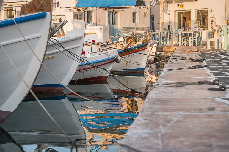 This image shows the boats in the old port of Naoussa Paros.