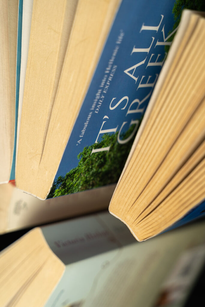 This image shows a couple of books viewed from the top.
