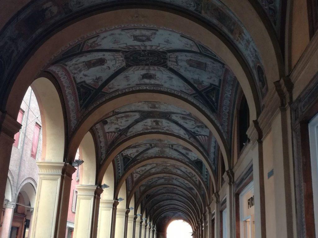porticos ceiling frescos Bologna Italy Emilia Romagna