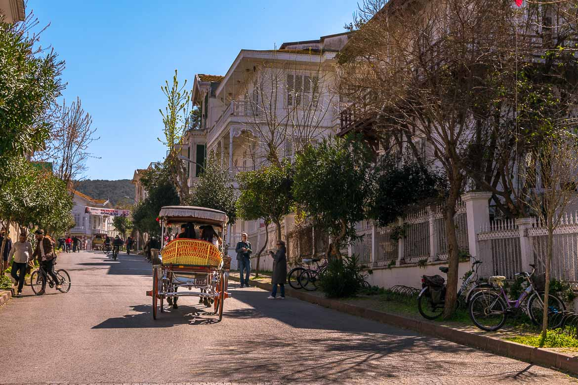 This is an image of Cankaya Street on Buyukada Island. There is a horse drawn carriage in the middle of a lined with wooden mansions street. There are also people walking or riding bicycles.