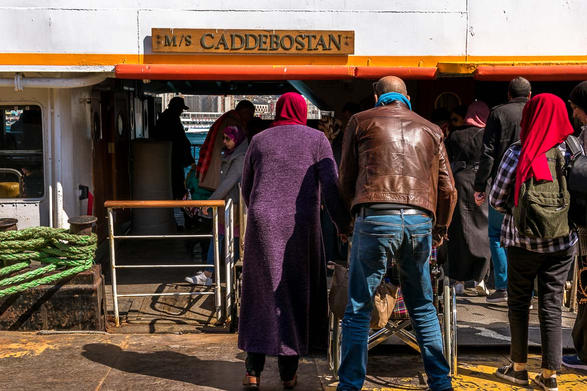 This photo shows people getting on the ferry at Eminonu in Istanbul.
