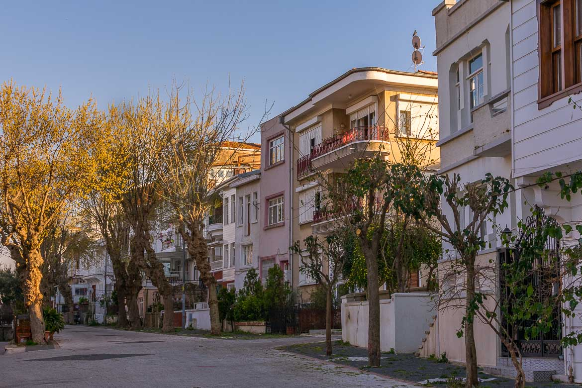 This photo shows a street on Heybeliada Island lined with pastel coloured houses and trees.