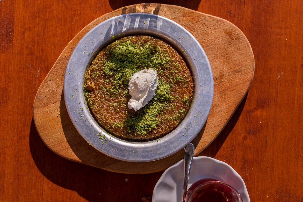 This is a photo of traditional Turkish dessert kunefe.