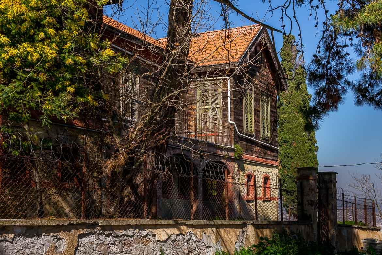 This is a photo of the facade of the Greek Monastery of Sotiras Christos (Christ the Savior) on Buyukada Island.