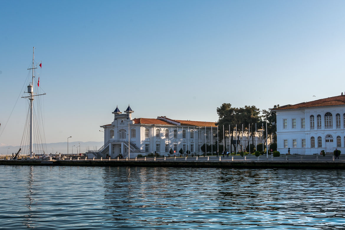 This photo shows the Turkish Navy Academy building on Heybeliada Island. The building is right at the seafront.