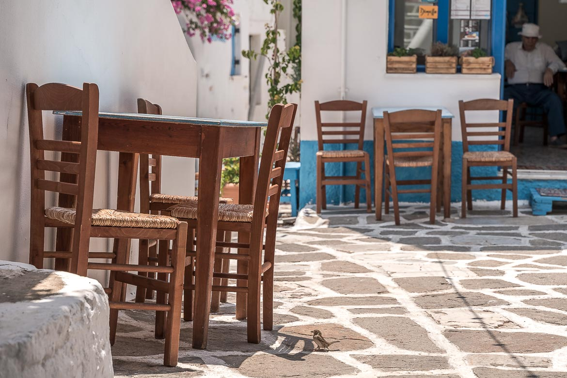 This is a close up of the tables and chairs of a traditional cafe in beautiful Prodromos village.
