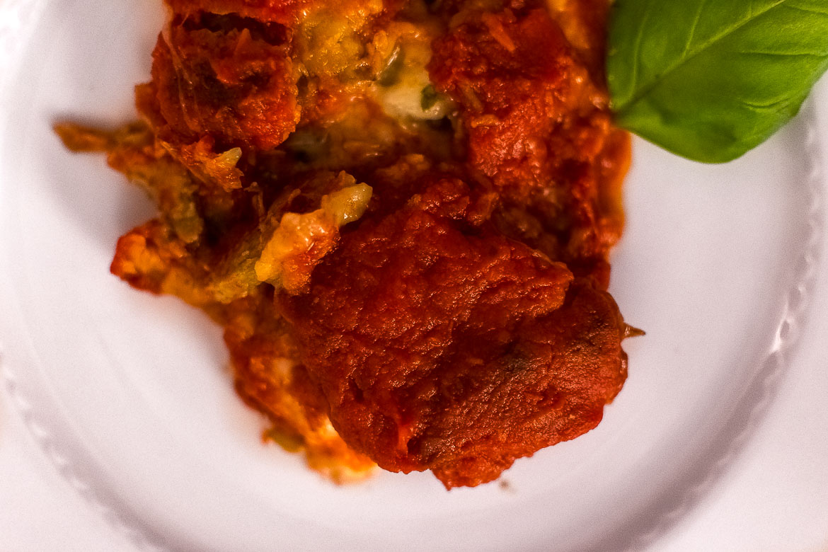 This is a close up of one of the most scrumptious food on this Puglia food guide. Parmigiana di carciofi or artichoke parmesan.