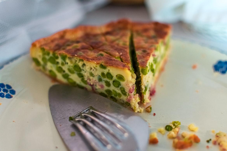 This is a close up of Piselli Nano di Zollino tart at Masseria Il Frantoio.