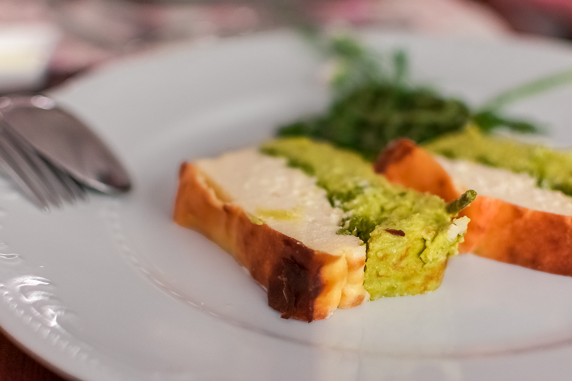 This is a close up of a piece of delicious vegetable sformato served at Masseria Il Frantoio.