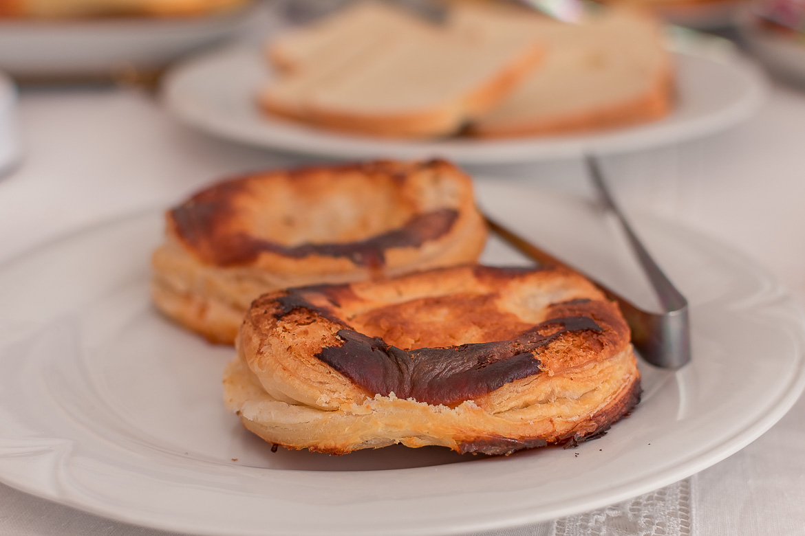 This is a close up of two puff pastries that are typical of Lecce.