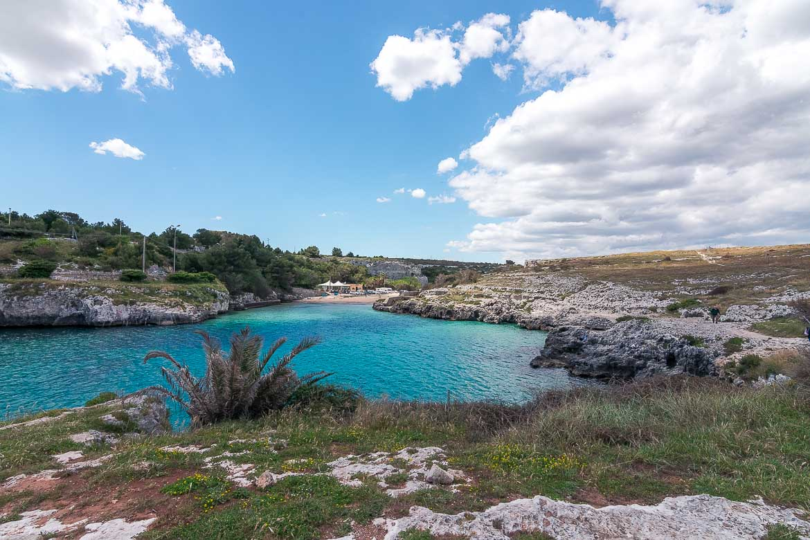 This is a panoramic shot of Porto Badisco Beach in Puglia. We came across countless pristine beaches during this 2-week Puglia road trip itinerary.