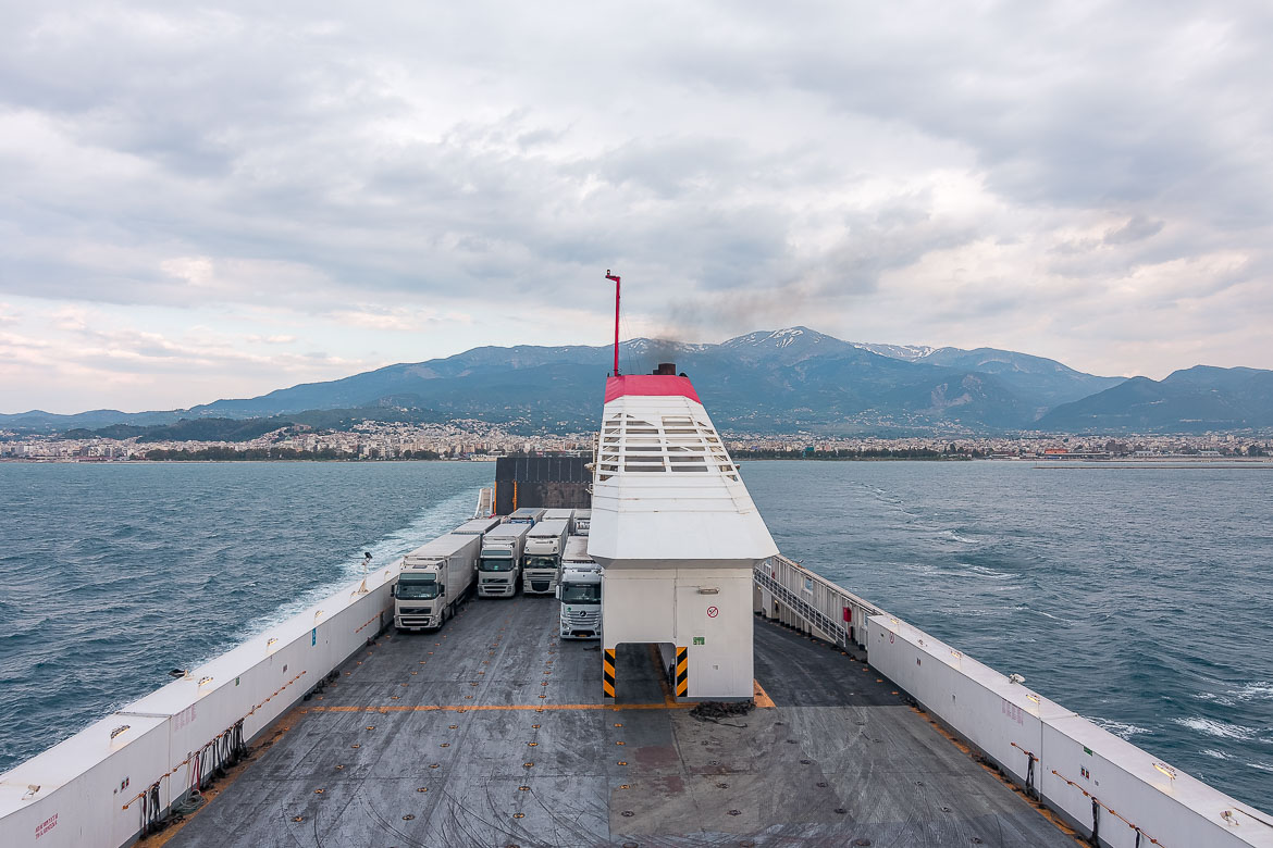 This image was taken from on board the ferry. It shows the back part of the ferry as we leave Patras Port behind on a cloudy afternoon. Our Puglia road trip had just begun!