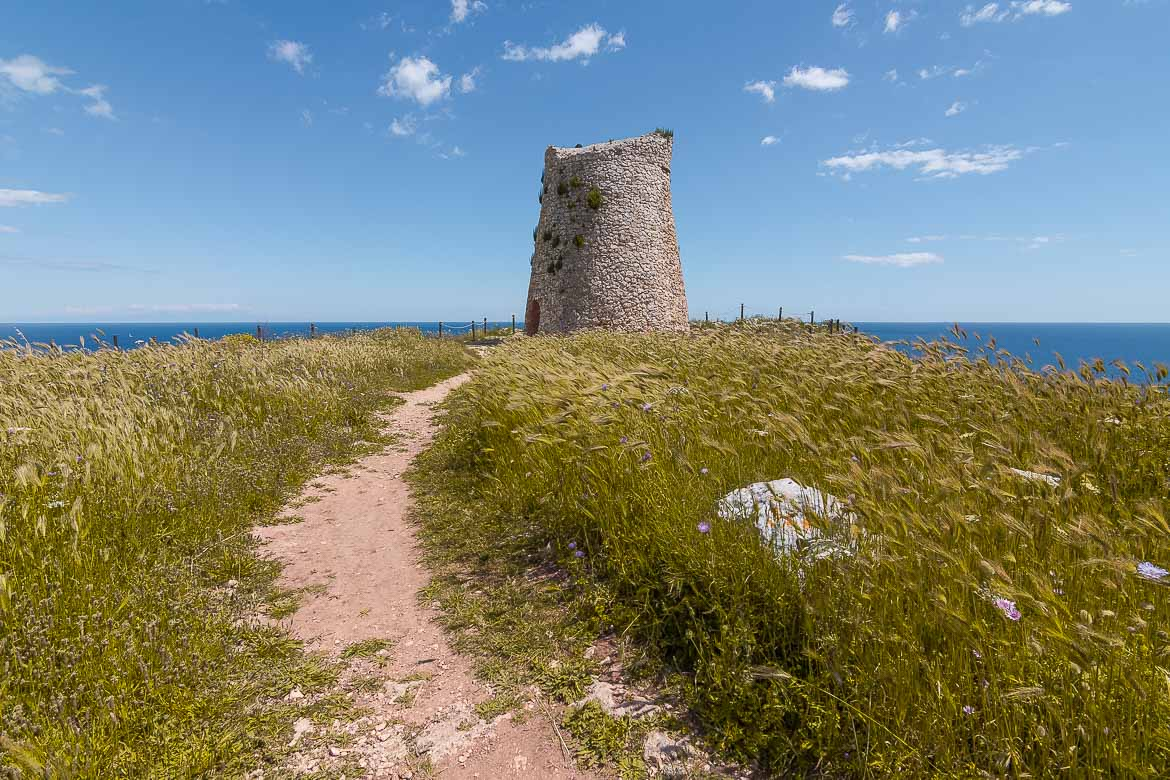 This is a photo of a lonely watchtower somewhere in the stunning Puglia countryside. There is a narrow path leading to the tower and we can see the sea in the background.