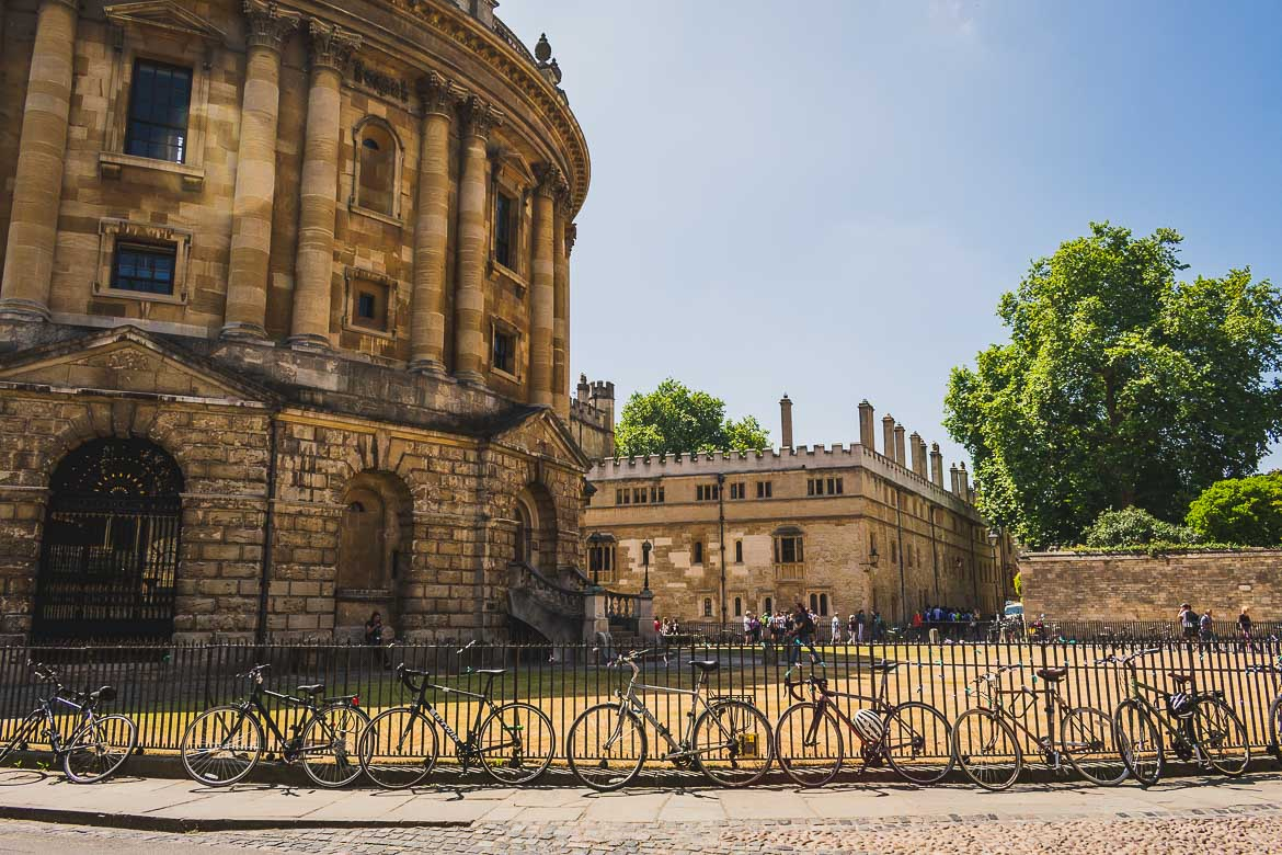 This photo shows Radcliffe Camera, one of Oxford's main attractions. We took this fantastic Oxford day trip on our way from Bristol to London, England.