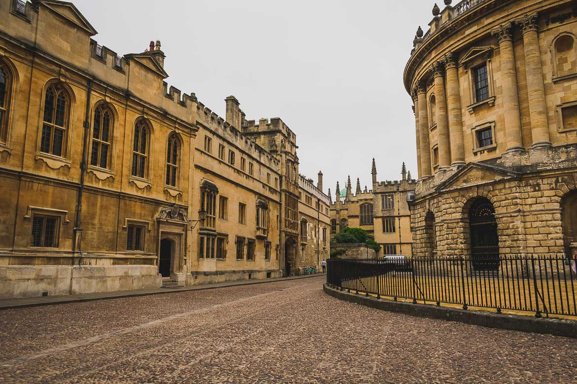 This photo shows Radcliffe Square in Oxford, England very early in the morning. There are no people in the streets, everything is absolutely quiet.