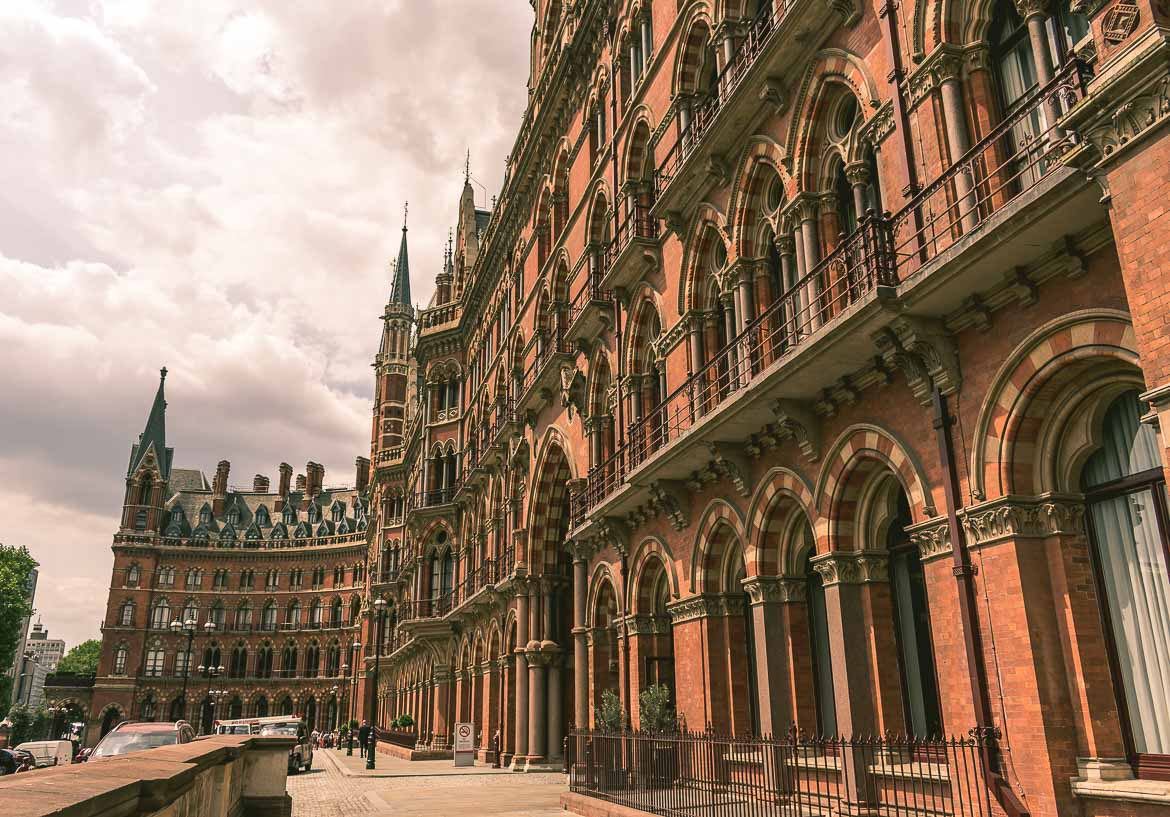 This photo shows the Renaissance Hotel in front of St Pancras station in London, England. A fine example of Victorian London architecture.