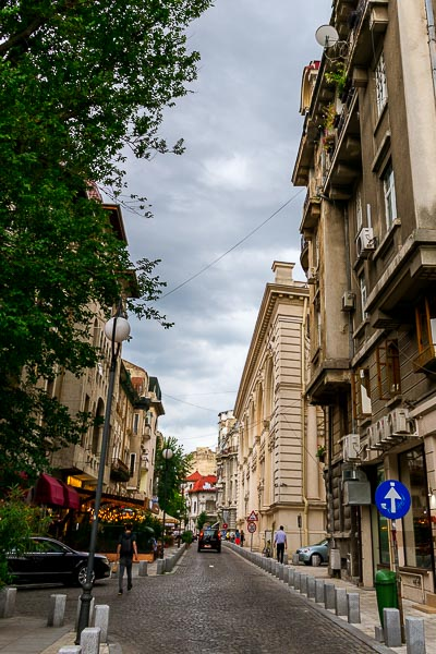 This image shows a narrow road in Bucharest city centre.