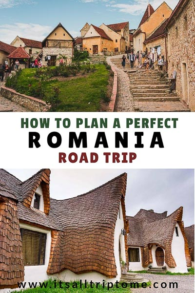 This image is optimised so as to be used for Pinterest. The image is composed of two separate photos. One shows Rasnov Fortress and the other shows Castelul de Lut Valea Zanelor. The text on the image reads: How to plan the perfect Romania road trip. If you like our article, please pin this image on Pinterest!