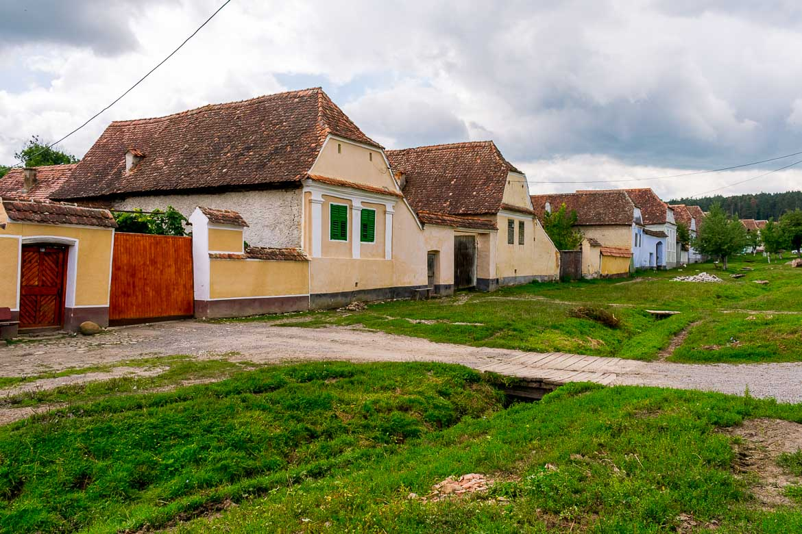 This image shows a line of colourful traditional houses. There is grass and a couple of dirt paths in front of the houses.