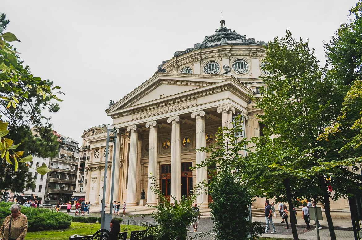 This photo shows the Romanian Athenaeum in Bucharest, Romania. One of the top things to do in Bucharest.