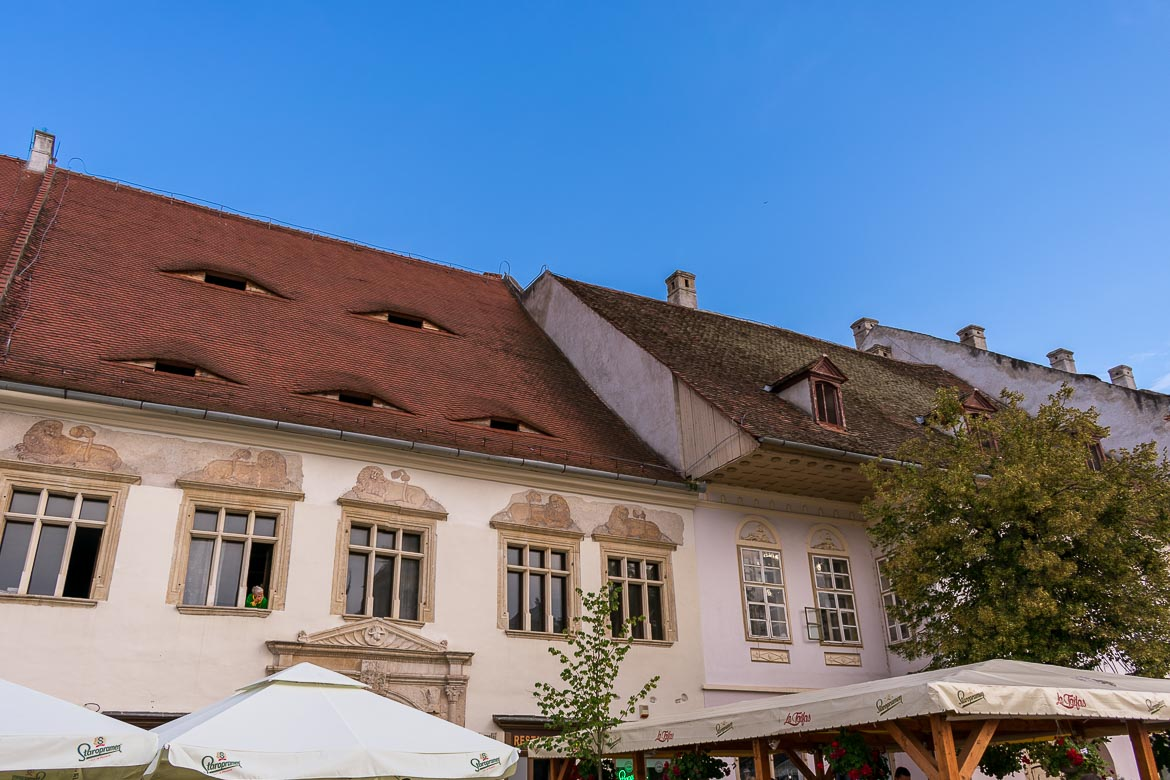 The most interesting architectural element in Sibiu Old Town is the oddly shaped rooftop windows which resemble sleepy yet super watchful eyes. 11 amazing things to do in Sibiu Romania.