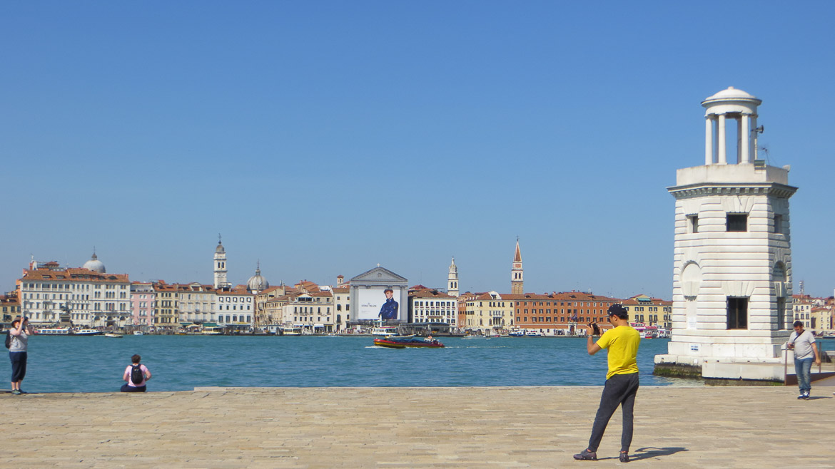 This photo shows the view to Venice from San Giorgio Maggiore. Venice boat tour with walks is one of the top things to do in Venice Italy.
