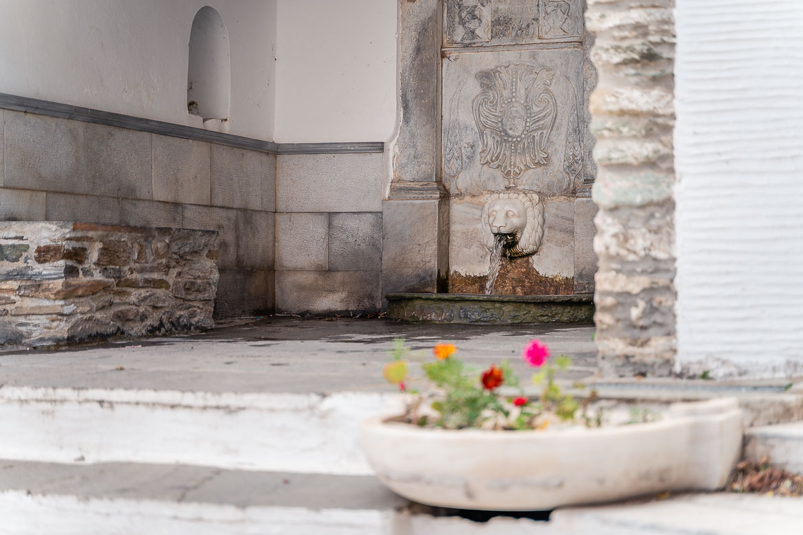 This is a close up of Sariza Spring in Apikia. The fresh water runs from a marble lion's mouth. There is a marble pot of flowers in the foreground.