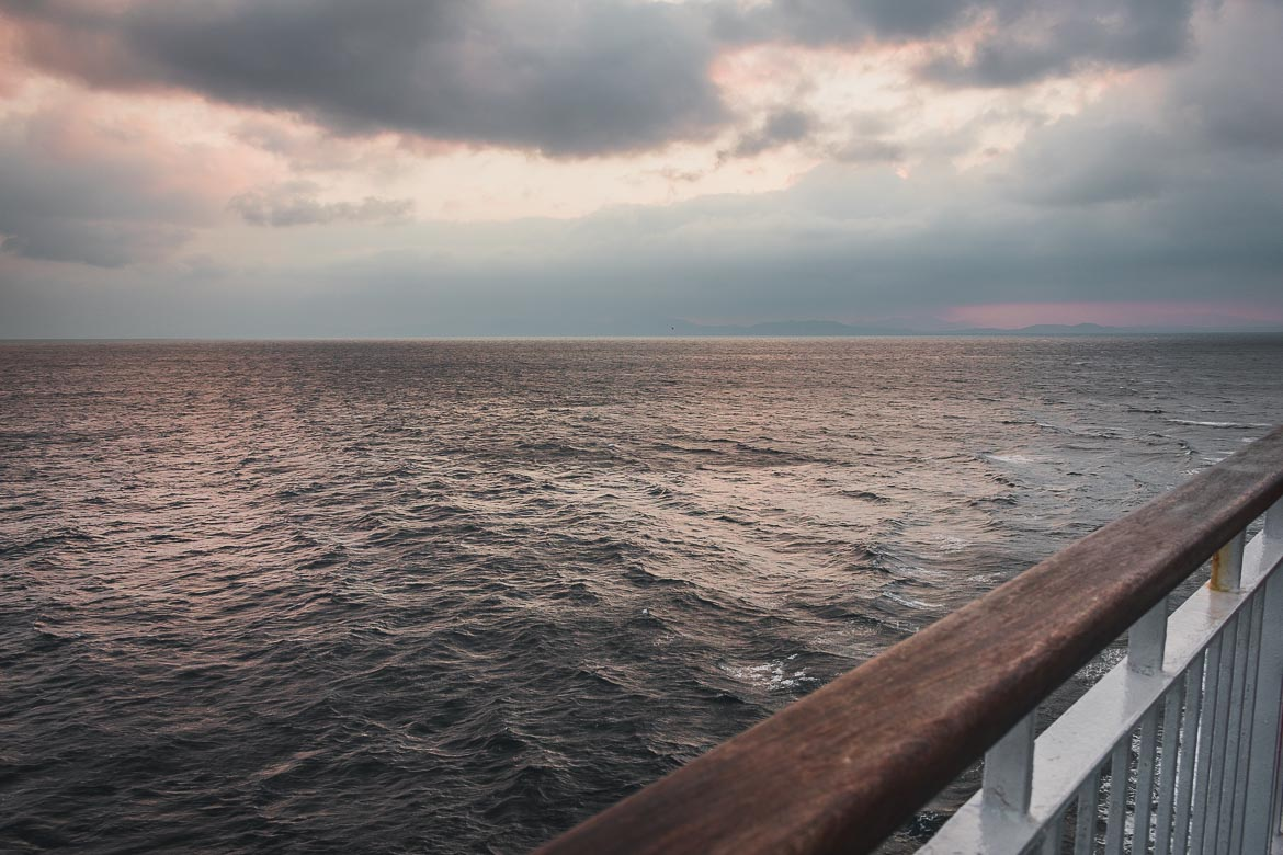 This photo shows the sunset at sea taken from the ship on our way to the 1st Andros On Foot walking festival.