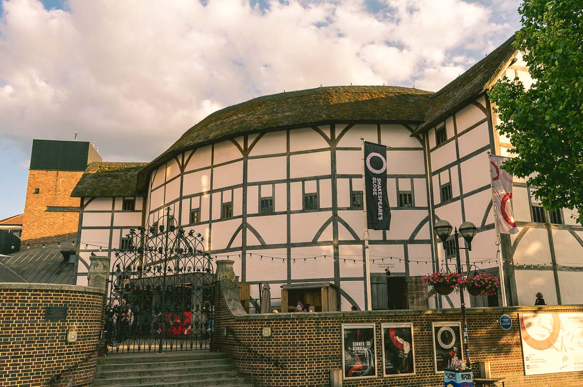 This is a photo of Shakespeare's Globe Theatre, one of the major sights you will come across during a South Bank walk in London, England.