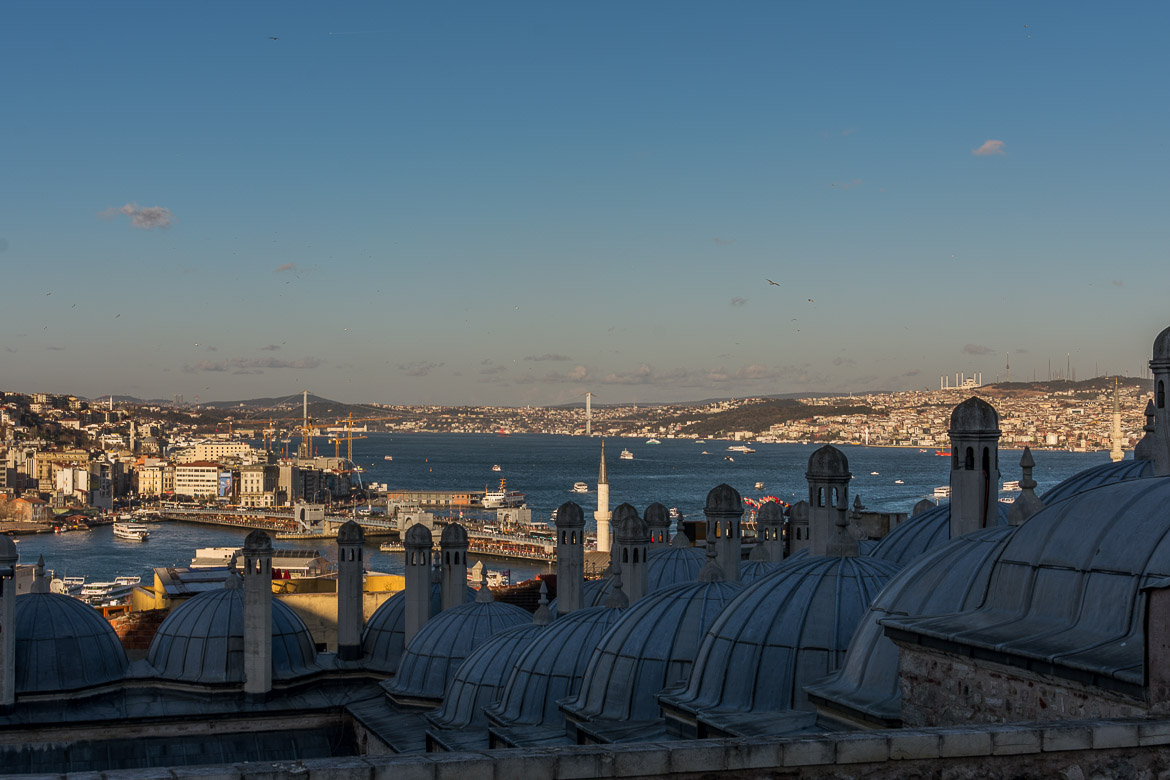 View to the Golden Horn from Suleymaniye Mosque. The best sightseeing tours in Istanbul.